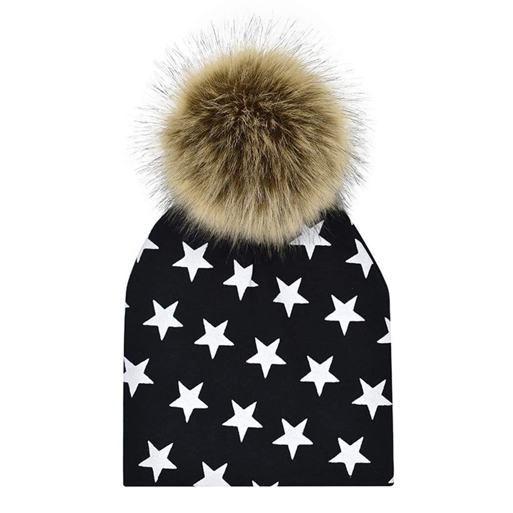 MIOIM Baby Boys Girls Winter Warm Hats Faux Fur Hat Pompom Bobble Kids Cap SAICAD*235928401
