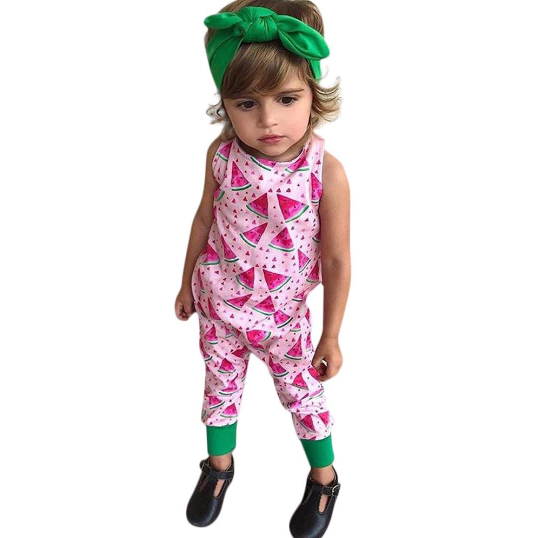 Moonker 2Pcs Infant Toddler Baby Girls Cute Summer Romper Watermelon Printing Jumpsuit Headband Outfits Set 0-2T
