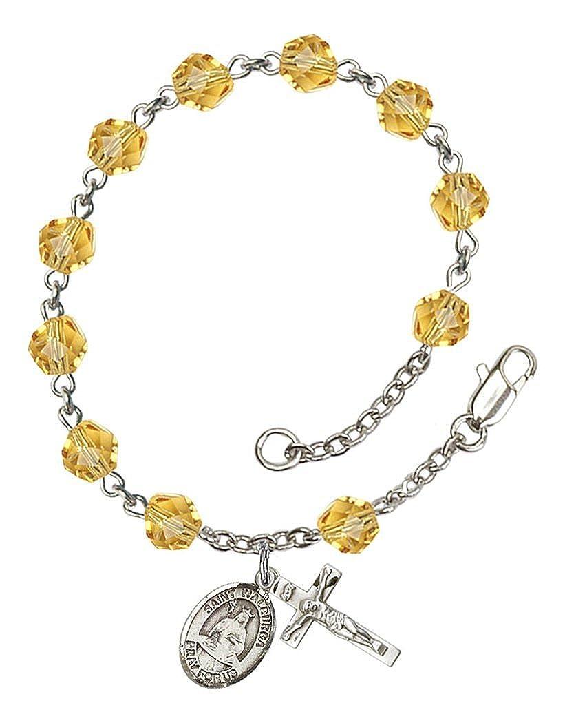 7 1//2 Inch November Birth Month Bead Rosary Bracelet with Patron Saint Petite Charm