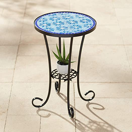 Teal Island Designs Blue Stars Mosaic Black Outdoor Accent Table