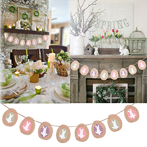 Faylapa Bunny Burlap Banner Flags Bunting for Easter Party Favors Decoration Spring Photo Prop