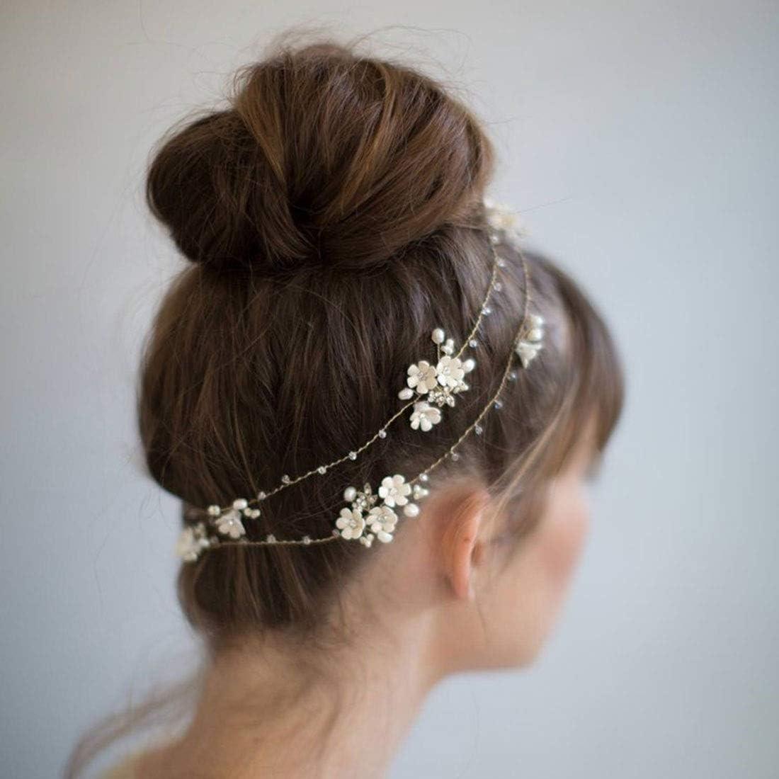 Wazenku 真珠の帽子白い花頭飾り結婚式のヘアアクセサリー結婚式のヘアバンド (色 : ホワイト)