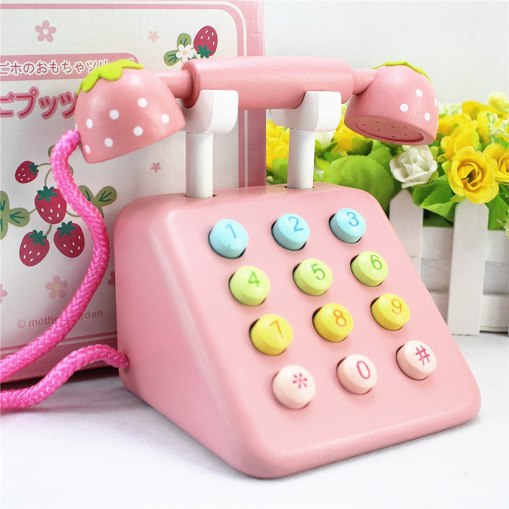 Samber Kid's Toy Telephone Set Simulation Wooden Telephone Toy Playset Pretend Play Toy Creative Children Telephone Toy Phone Activity Center for Children Baby Pre-schoolers (Pink) by Samber