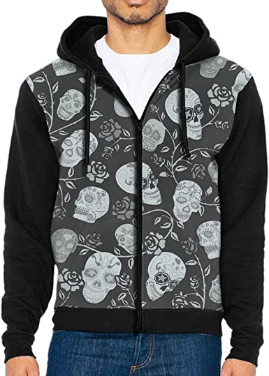 Shenghong Lin Sugar Skull Flowers Funny Mens Black Hoodie Sweatshirt Sportswear Jackets With Hoodies