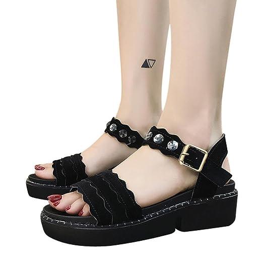 34dc8d974f92e Graduation Ceremony Sandals,Hemlock Women Office High Heels Sandals Wedges  Platform Slip-On Buckle