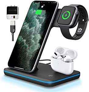 Wireless Charger 3in1 (Black) Qi-Certified 15W Charging Station for Apple Watch Series 1 2 3 4 5 Airpods 1 2, Compatible for iPhone 8 X Xs Xr 11 12 11/12Pro,11/12ProMax,Samsung Galaxy S20 S10 S9 S8