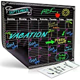 Dry Erase Magnetic Refrigerator Monthly Calendar | Black Flexible Magnet Board Design | Monthly for Kitchen Fridge| Use w/ Fluorescent or Neon Liquid Chalk Markers (12x16 Monthly Calender)