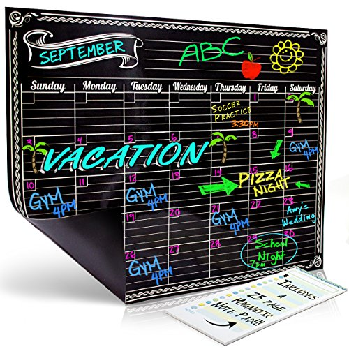 Dry Erase Magnetic Refrigerator Monthly Calendar | Black Flexible Magnet Board Design | Monthly for Kitchen Fridge| Use w/ Fluorescent or Neon Liquid Chalk Markers (12x16 Monthly Calender) by Bigtime Designs Dry Erase Line