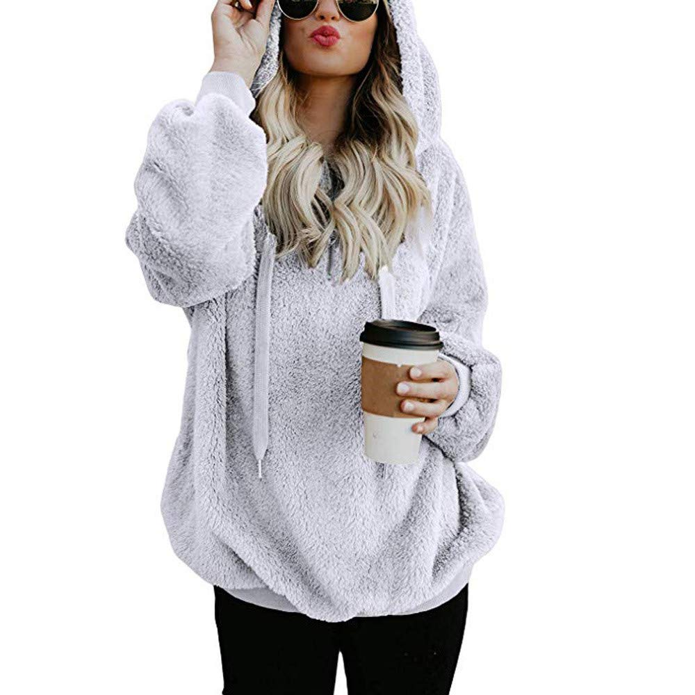 Rambling New Women's Oversized Sherpa Fuzzy Casual Loose Pullover Hoodie with Pockets 1/4 Zip Warm Wool Sweatshirt Outwear