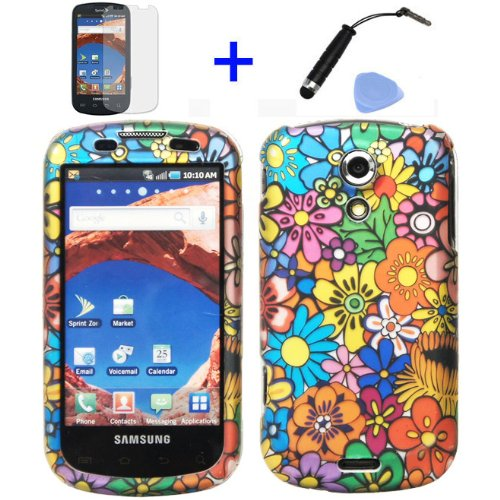 (4 items Combo: Stylus Pen, Screen Protector Film, Case Opener, Graphic Case) Pink Green Orange Blue Purple Spring Cartoon Color Daisy Flower Design Rubberized Snap on Hard Shell Cover Faceplate Skin Phone Case for Sprint Samsung Epic 4G D700 Galaxy S (Sliding Keyboard Version) ()