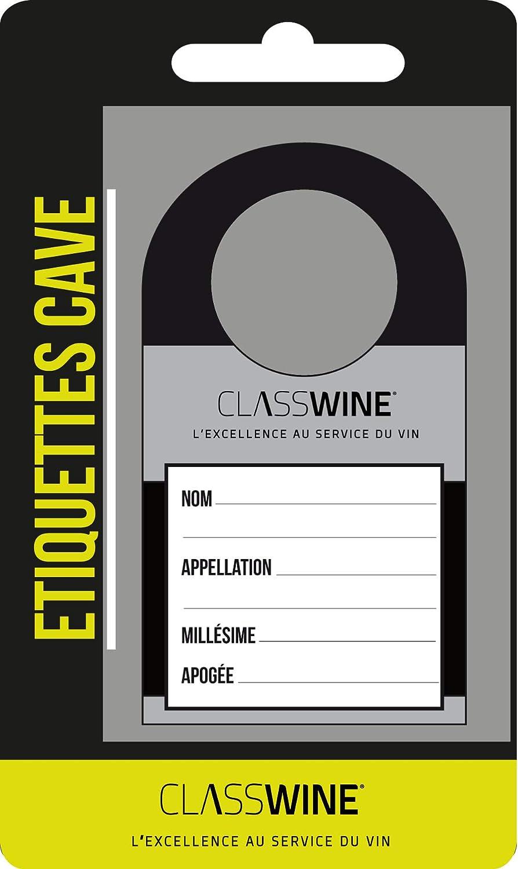 Juego de 30 Etiquetas para Botellas de Vino CLASS WINE A938 Color Negro y Plateado