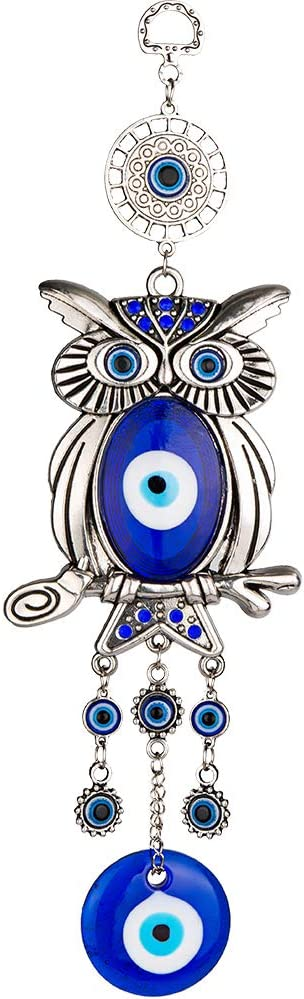 ME9UE Blue Evil Eye Owl 11.7 Inches Pendant Decoration, Lucky Owl Hanging Ornament Amulet for Car, Home and Office for Protection and Blessing