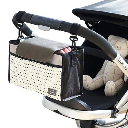 Bolso de almacenamiento del organizador del carro del bebé, Sunbeter bolso de almacenaje colgante del carro multifuncional Bolso de pañal impermeable ...