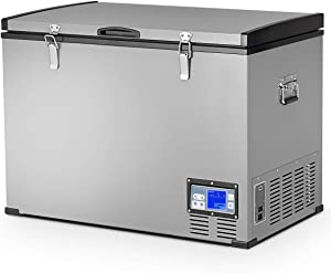 COSTWAY Chest Freezer, 100-Quart Compressor Travel Refrigerator with 3 Levels, -0.4°F to 50°F, Adjustable Temperature, LCD Display and Lighting Bulbs, Single Door Vehicle Fridge for Car, Home, Camping