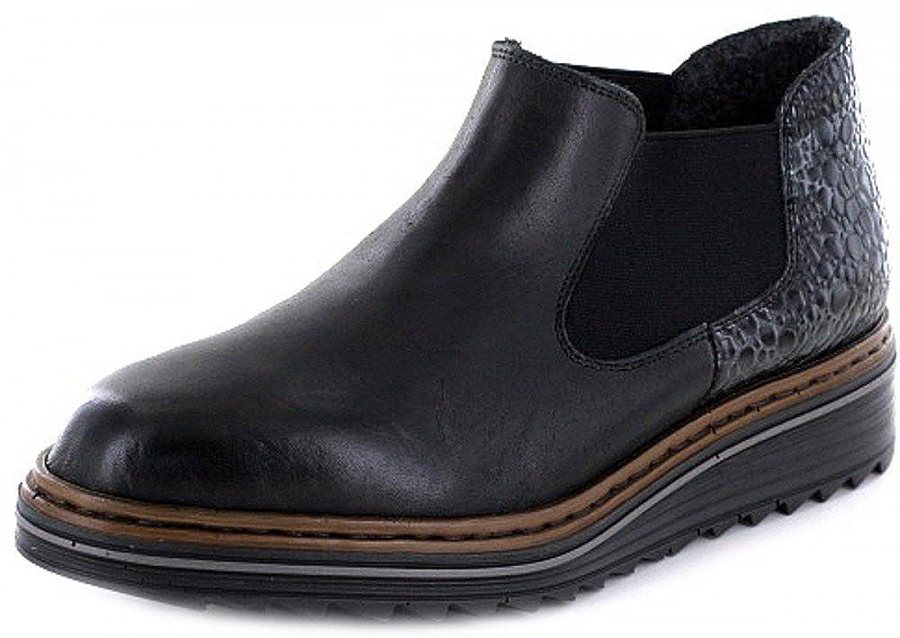 Rieker M6390 Damen Kurzstiefel, Stiefelette, Schlupfstiefel, Boot, Slip on Boot, Extra Weiche Decksohle