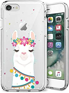 iPhone 7 8 Case,Slim Fit Shell Soft Thin Mobile Phone Clear Case with Non Slip Matte Surface Protective Clear case for iPhone 7 8-Flower Alpaca