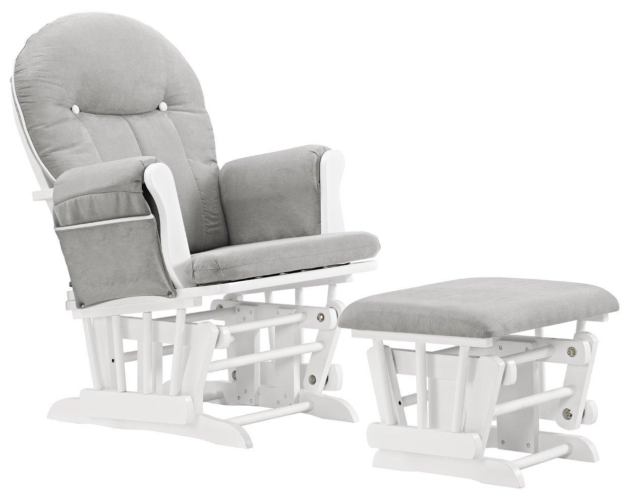 Angel Linie Celine Glider und Ottoman, White/Gray Cushion mit White Piping