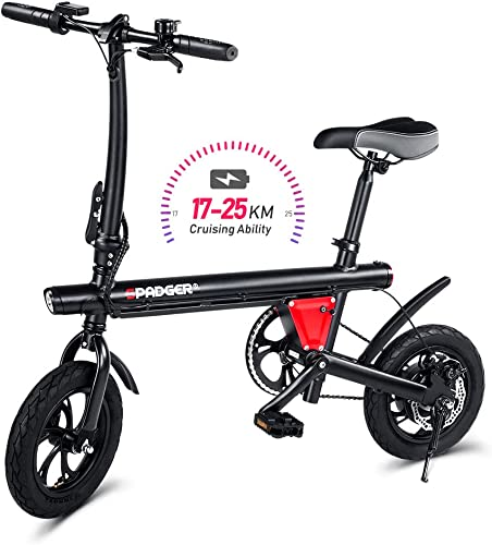 Spadger Folding Lightweight Electric Bike, Max Speed Up to 15Mph with 21 Miles Range, 12 Wheels Portable Ebike with Pedal, Power Assist Aluminum Electric Bycicle E-Bike Scooter