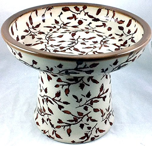 Polish Pottery Raised Cat Dog Wet Fresh Canned Food Dish - Classic LISB Tree Branches
