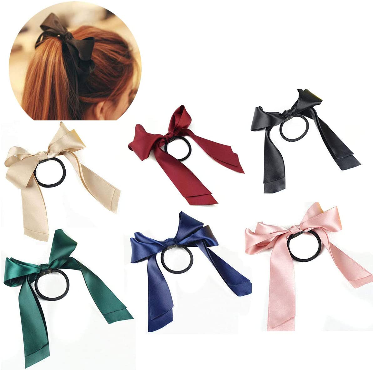 Women Multicolor Satin Ribbon Bow Hair Band Rope Scrunchie Ponytail Holder