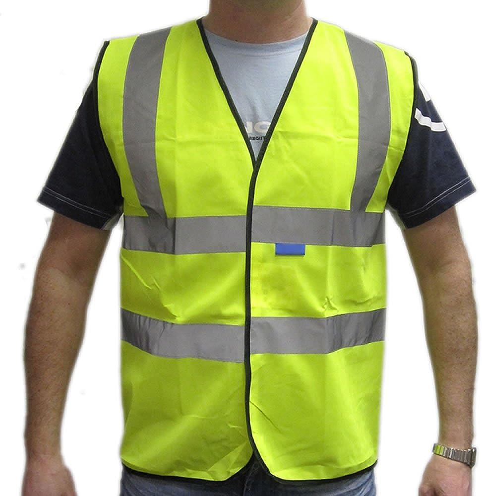 Hi Viz Safety Vest Waistcoat Jacket Mens Workwear