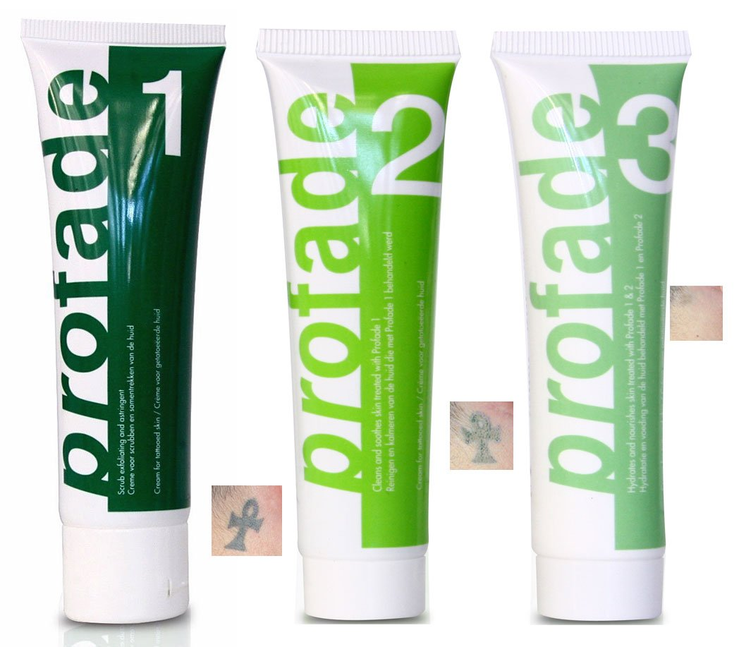 Profade Tattoo Removal Cream 3 Step Action   The Daily Use of Profade Helps De-color old or new Tattoos   1 month supply