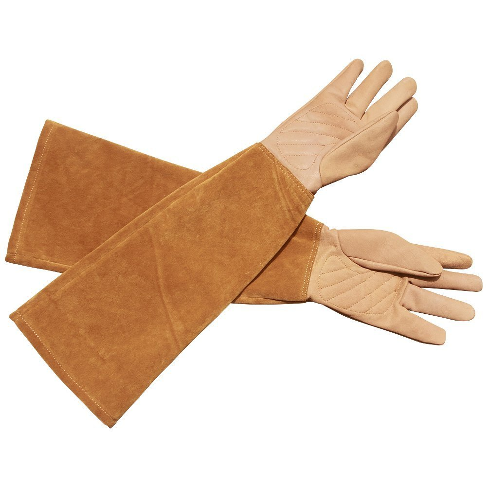 Thorn Proof Goatskin Leather Riggers YLST04-M-8 QEES Gardening Gloves Rose Pruning Gloves With Cowhide Suede Gauntlet Sleeves for Men and Women