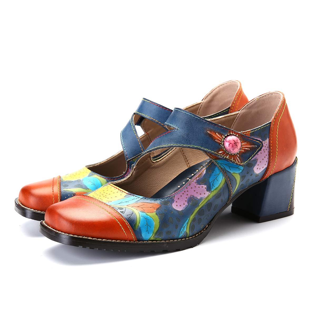 gracosy Zapatos de Cuero de Tacón Bajo de Mujer Merceditas Zapatos de Salón de Cuero Mocasines de Cuero Hechos a Mano Zapatos Planos Ocasionales Cómodos Gancho y Moño Mocasines de Trabajo Zapatillas 38 EU naranja