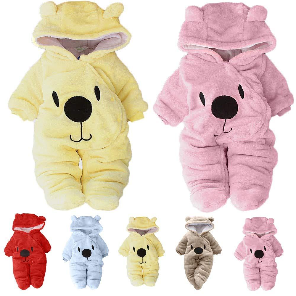 TOOPOOT Newborn Romper,Baby Girl Boy Solid Cartoon Bear Velvet Hooded Jumpsuit Toddler Romper Clothes