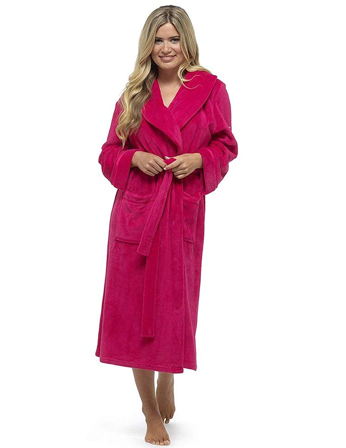 CityComfort Luxury Fleece Dressing Gown Supersoft Bathrobe Perfect Present for Ladies Extra Long Black Gown Robe
