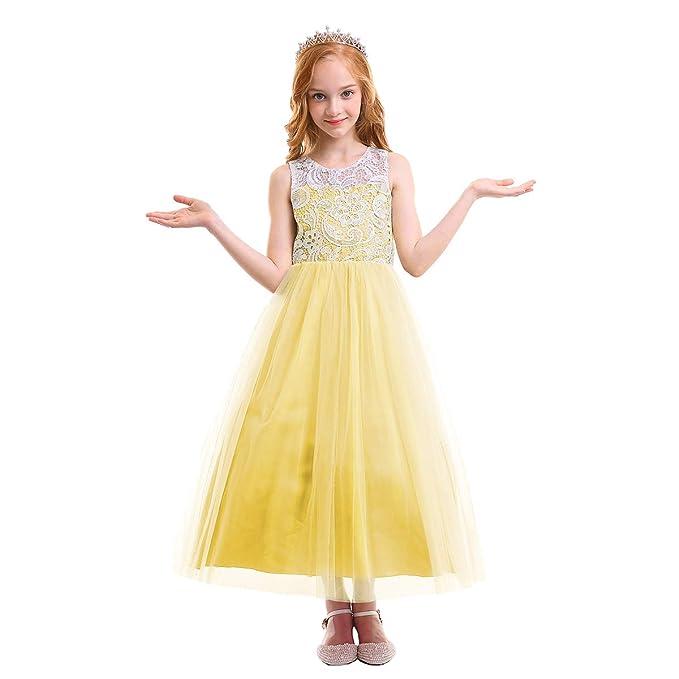 9e919be5bc OBEEII Vestido Elegant de Niña Vestidos Largos de Encaje Ropa Verano  Disfraz de Princesa para Fiesta. Pasa el ratón por ...