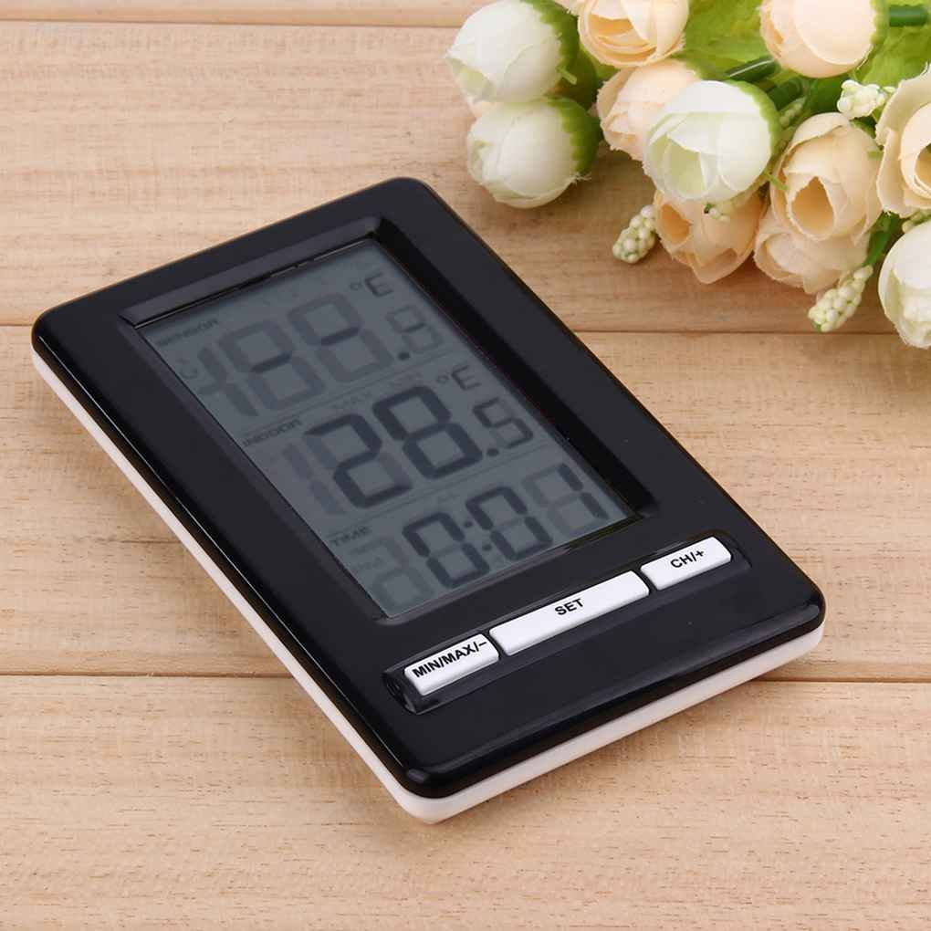 Elenxs Wireless Digital Thermometer Weather Station Clock Indoor Outdoor Electronic Temperature Meter