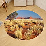 Gzhihine Custom round floor mat Landscape Acacia Tree Desert Sossusvlei Namibia Southern Africa Photo Bedroom Living Room Dorm Marigold Sky Blue and Green
