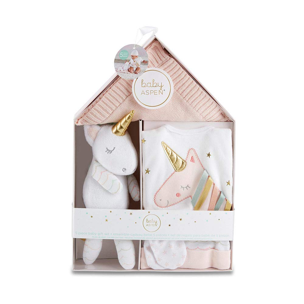 Baby Aspen Simply Enchanted Unicorn 5-Piece Welcome Home Gift Set, Light & Dark Pink/White/Aqua/Gold by Baby Aspen