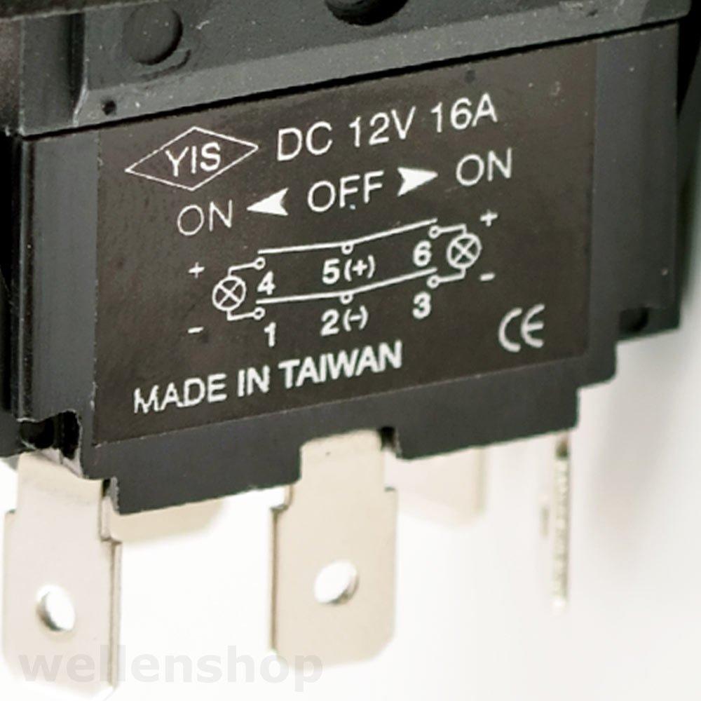 12V LED Kippschalter 16A ON-OFF-ON mit Einbaurahmen: Amazon.de ...