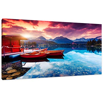 Canvas Wall Art Lake Mountain Sunset Nature Picture Modern Artwork Large Purple Blue Red Wooden House Boat Forest Lakeside Mountain Range For Office