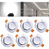 Hengda 6 pcs Einbaustrahler 3W LED Kaltweiß Deckenstrahler Spot Lampe Treppe Küchen Decke Einbau Spots Strahler mit Travo Einbauleuchten IP44