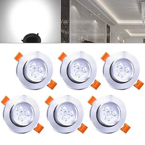 Hengda® Foco Empotrable de 6 piezas Foco empotrable de techo de 3W LED, blanco