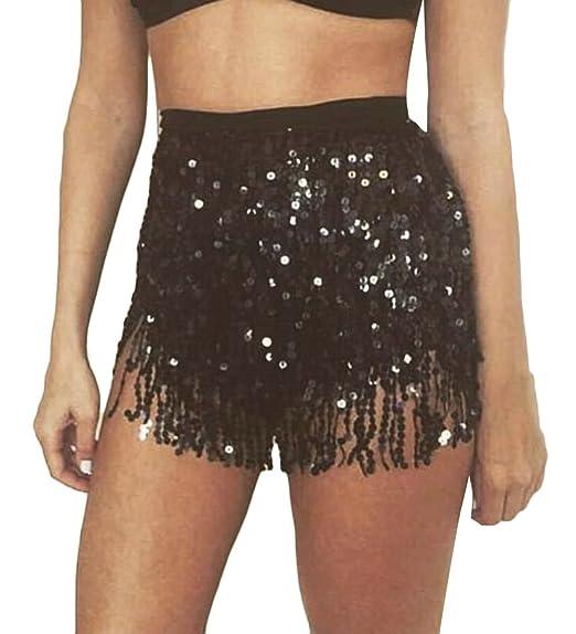 7f7c15f8d UUYUK Women Tassle Fringe Glitter Sequins Belly Dance Wrap Mini Skirt Black  OS