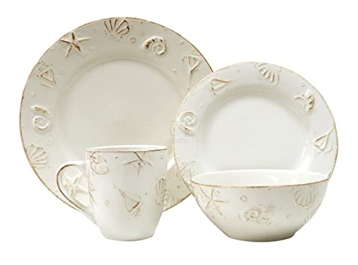 Christmas Tablescape Decor - Hampton Creamy White 16-Pc Pottery Dinnerware Set with Raised Seashell Design.