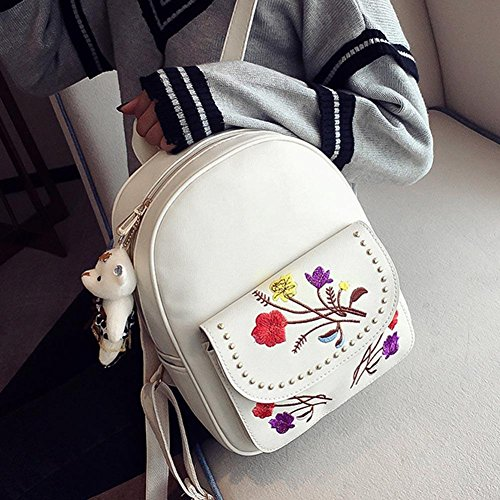 Domybest - Bolso mochila  para mujer Black with Double Zips White with Embroidery Flowers