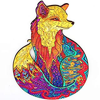 Unidragon Wooden Jigsaw Puzzles - Unique Shape Jigsaw Pieces Best Gift for Adults and Kids Alluring Fox 7 × 9.2 in (18 × 23 cm) - S
