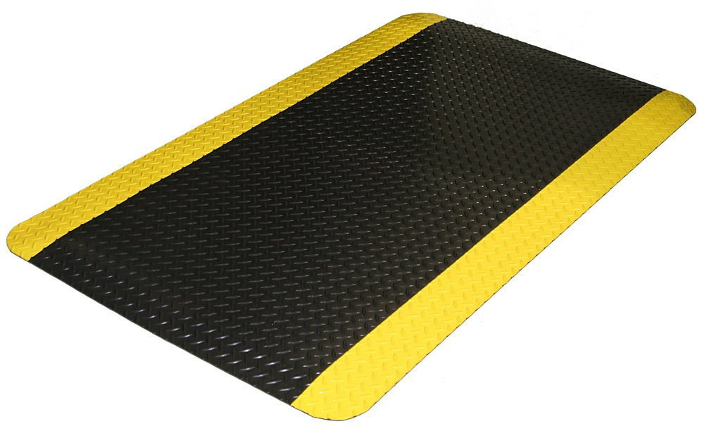 Durable Vinyl Diamond-Dek Sponge Industrial Anti-Fatigue Floor Mat, 3' x 5', Black with Yellow Border