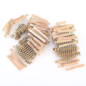 100 Values 1000pcs 1-10M ohm 1//2W Carbon Film Resistor Assortment Kit