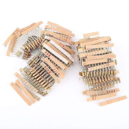 200pcs 10 Values Carbon Film Resistors 910-4.7M 5/% 1W Assortment Set