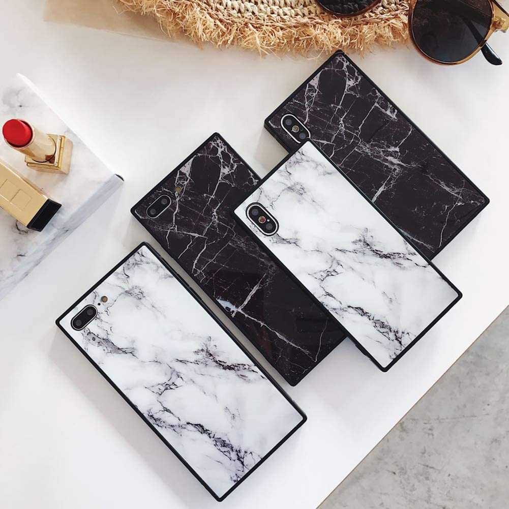 YonMeet Square Marble Case for iPhone Xs X 10 Black White Glossy Cover for iPhone 7 Plus 8plus Slim Soft Flexible TPU Shockproof Trunk Back Shell (iPhone X/XS, Black)