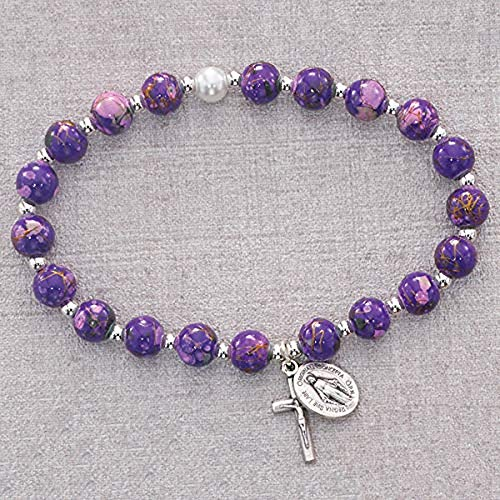 Hail Mary Gifts Purple Venetian Stretch Bracelet, 7MM Faux Venetian Glass Beads SILVR OX Crucifix and Miraculous Medal CARDED