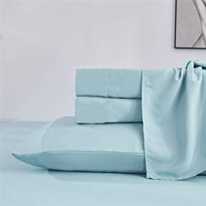 HIG Queen Size Solid Sheet Set - 4 Piece Set - Hotel Luxury Bed Sheets - Extra Soft - Deep Pocket Bed Sheets - Easy Fit - Breathable & Cooling - Wrinkle Free - Comfy - Plain Bed Sheet Sets