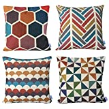 WOMHOPE 4 Pack - [Just Covers] 17 x 17 inch Colorful Geometric Cotton Linen Square Throw Pillow Covers Decorative Cushion Covers Pillowcase Cushion Case for Sofa,Bed (C (Set of 4))