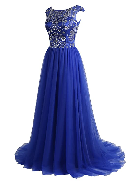 febb90e475ad6 ALAGIRLS Beaded Prom Dress Long Tulle Homcoming Evening Gowns Cap Sleeves  at Amazon Women's Clothing store: